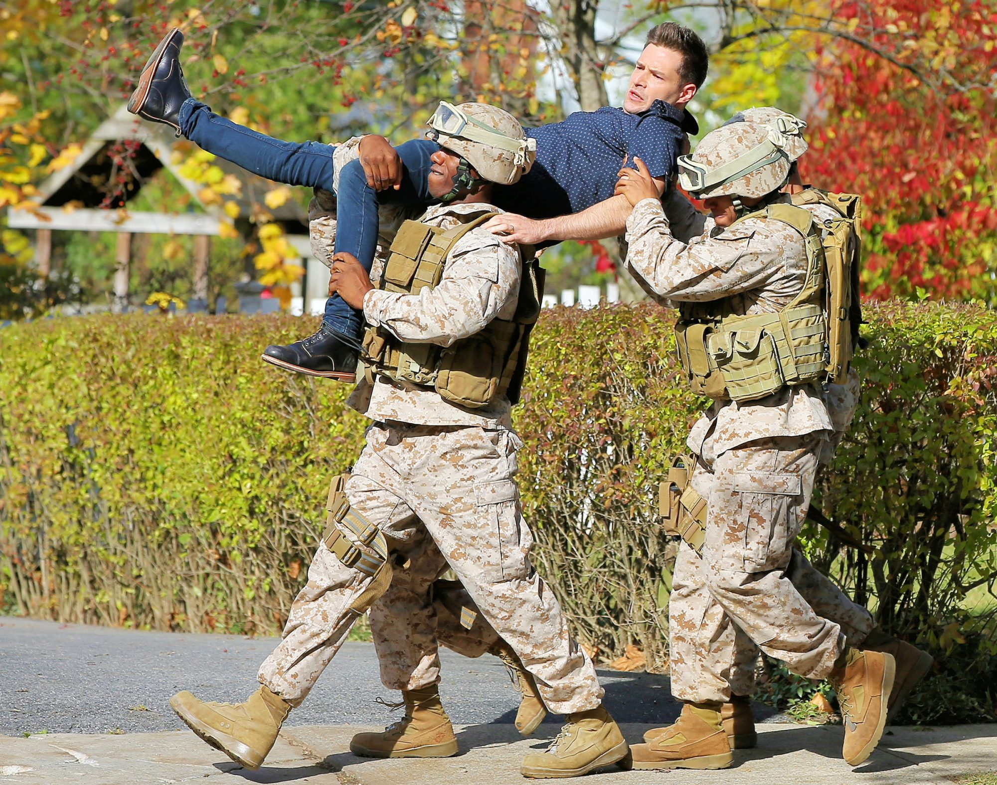 Ben Rappaport Gets Carried Away By Several Marines Filming 'Modern Love' In Schenectady, New York