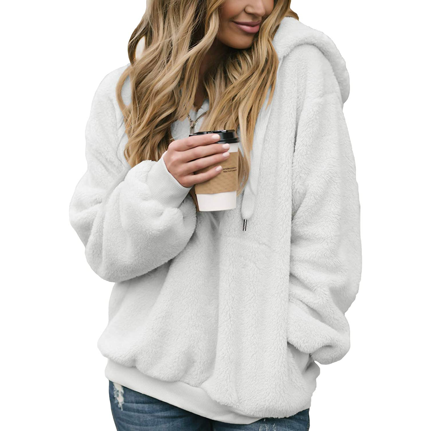 Dokotoo Womens Fuzzy Casual Loose Sweatshirt Hooded with Pockets Outwear