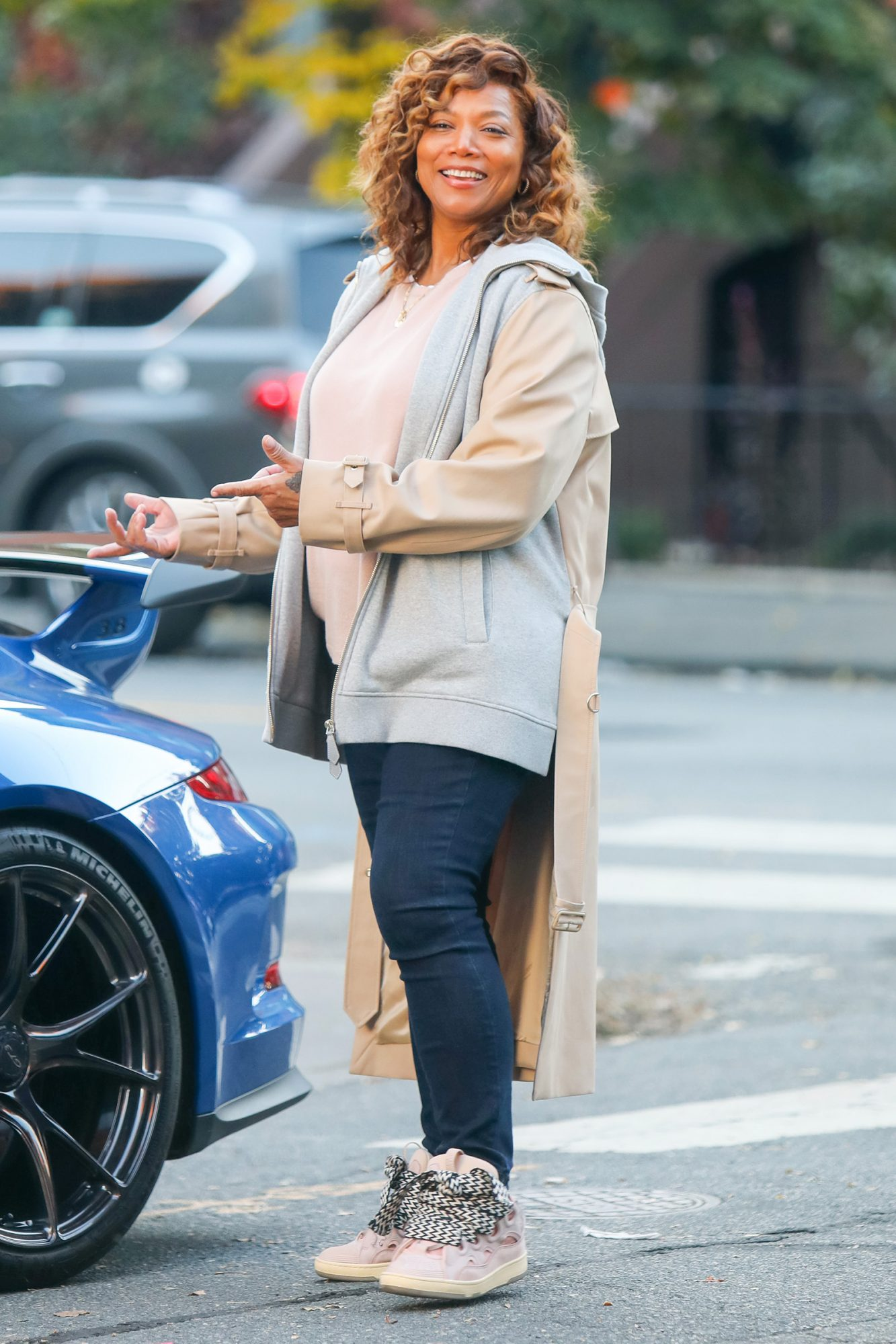 Queen Latifah is seen at the film set of 'The Equalizer' TV Series on November 09, 2020 in New York City