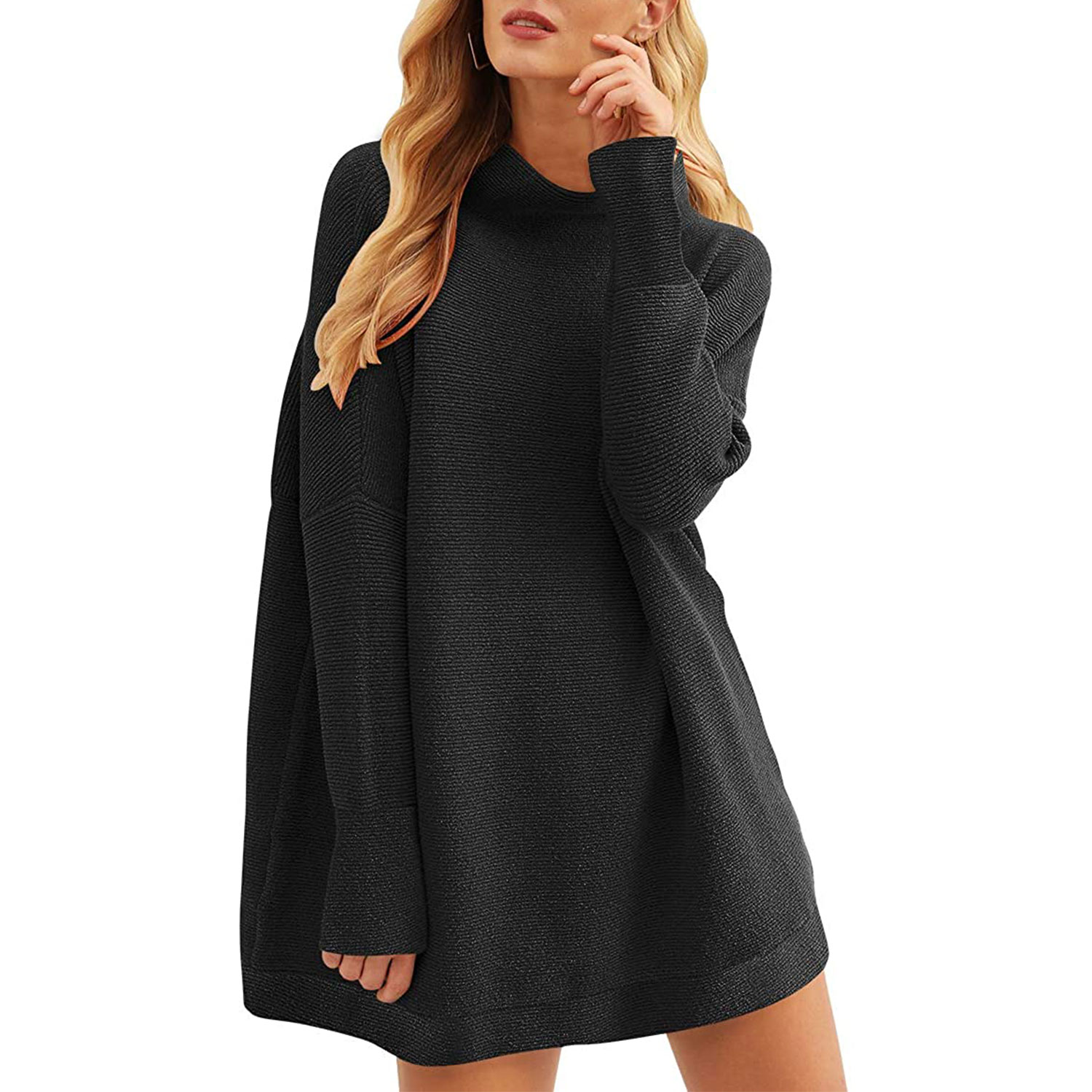 women's casual turtleneck batwing sleeve slouchy oversized ribbed knit tunic sweaters, black