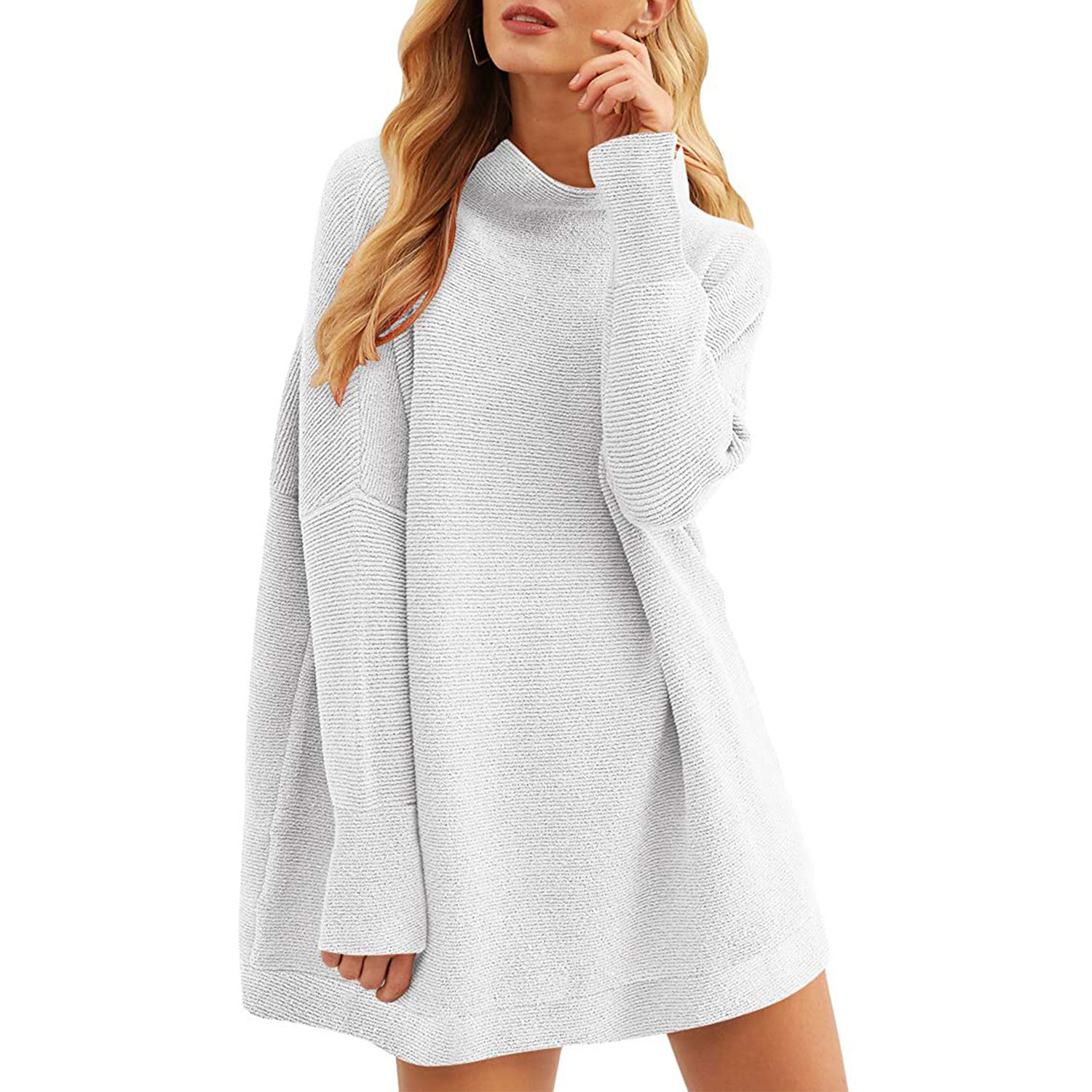 women's casual turtleneck batwing sleeve slouchy oversized ribbed knit tunic sweaters, gray