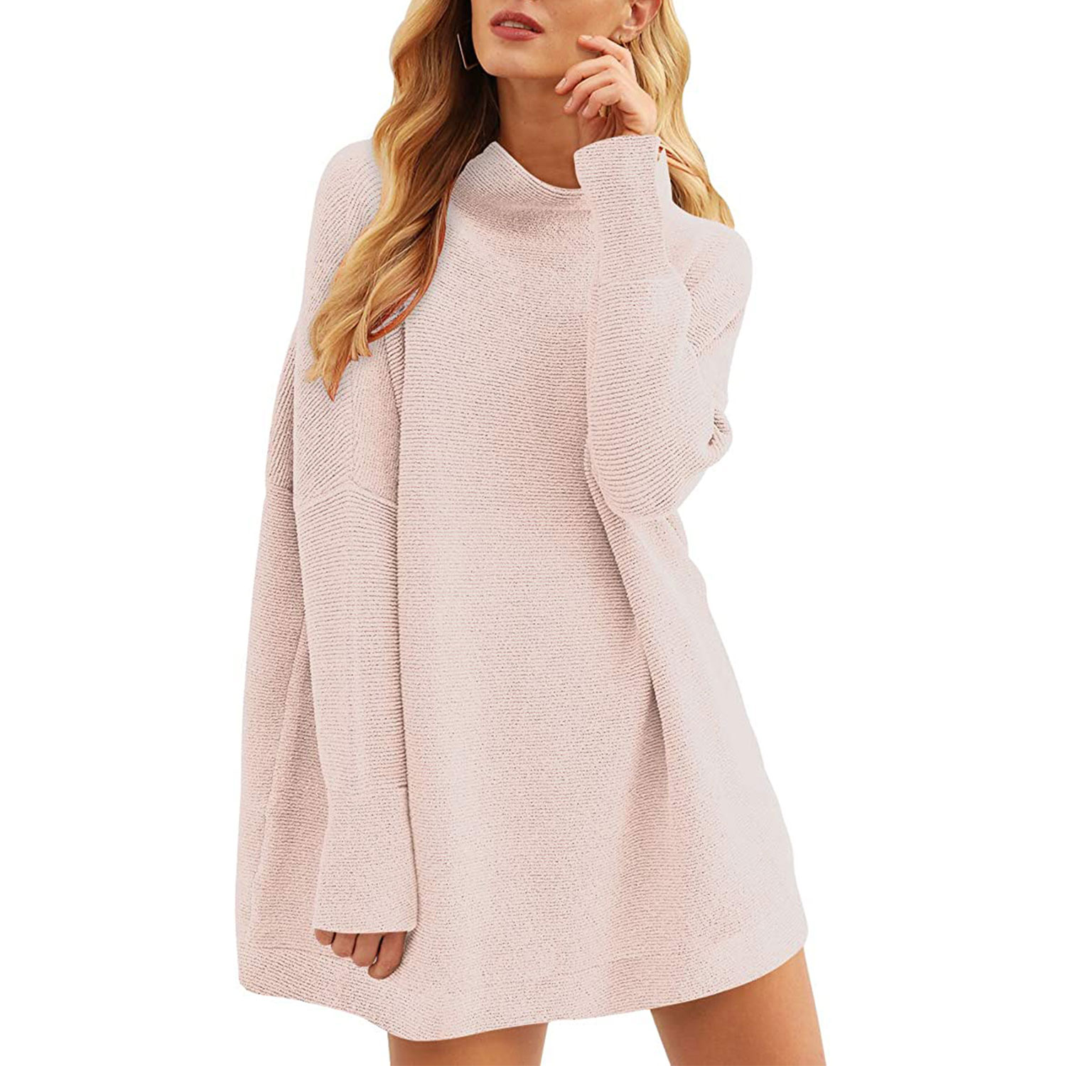 women's casual turtleneck batwing sleeve slouchy oversized ribbed knit tunic sweaters, pink