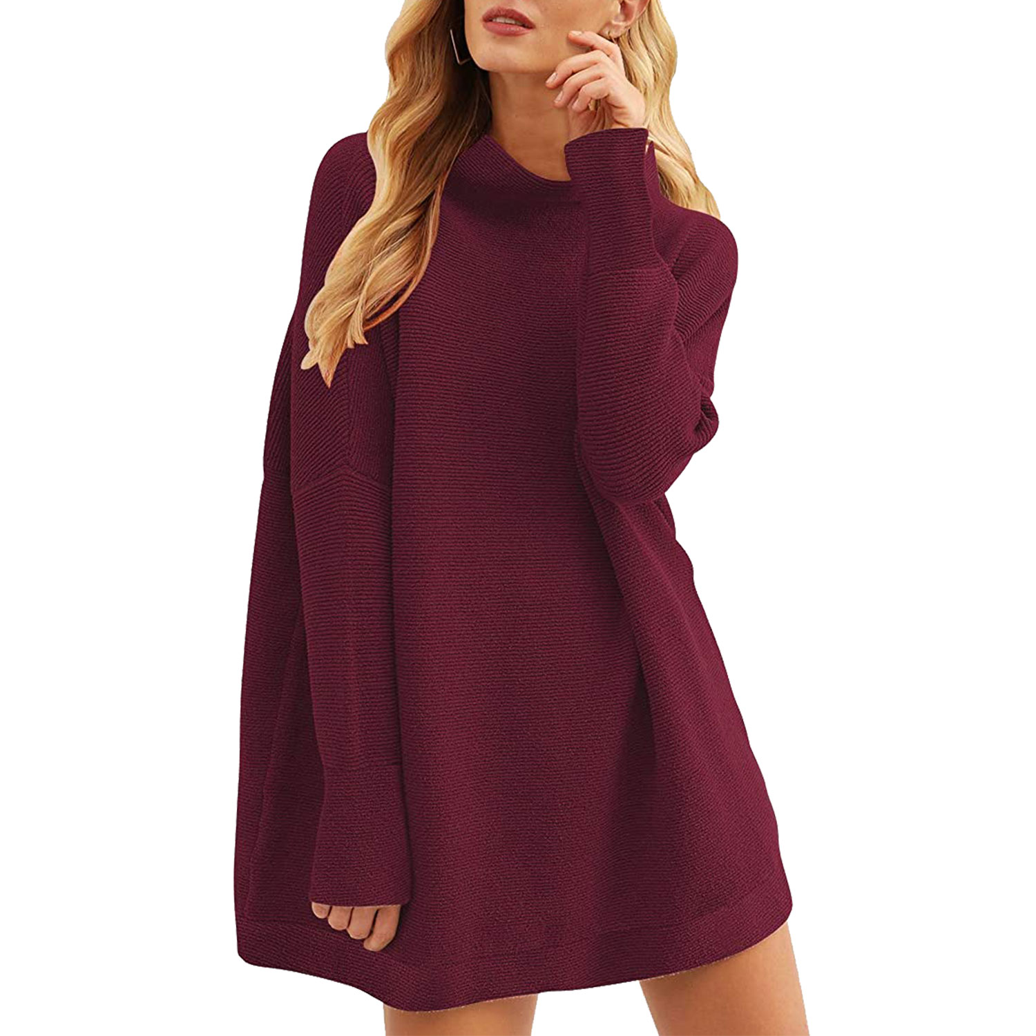 women's casual turtleneck batwing sleeve slouchy oversized ribbed knit tunic sweaters pink