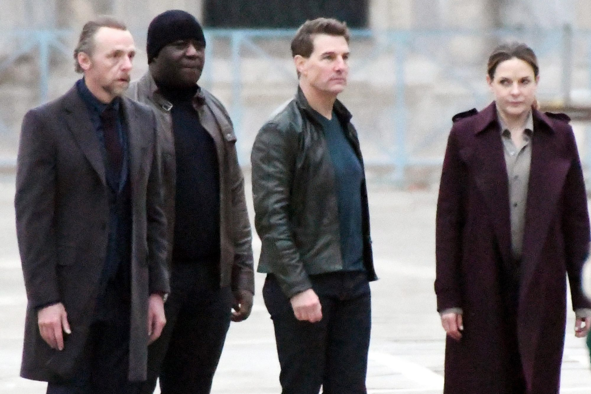 Tom Cruise, Rebecca Ferguson and Simon Pegg film Mission Impossible 7 at St Mark's Square in Venice