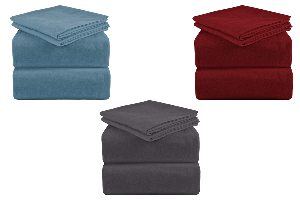 cotton flannel sheet set luxury soft, burgundy and gray