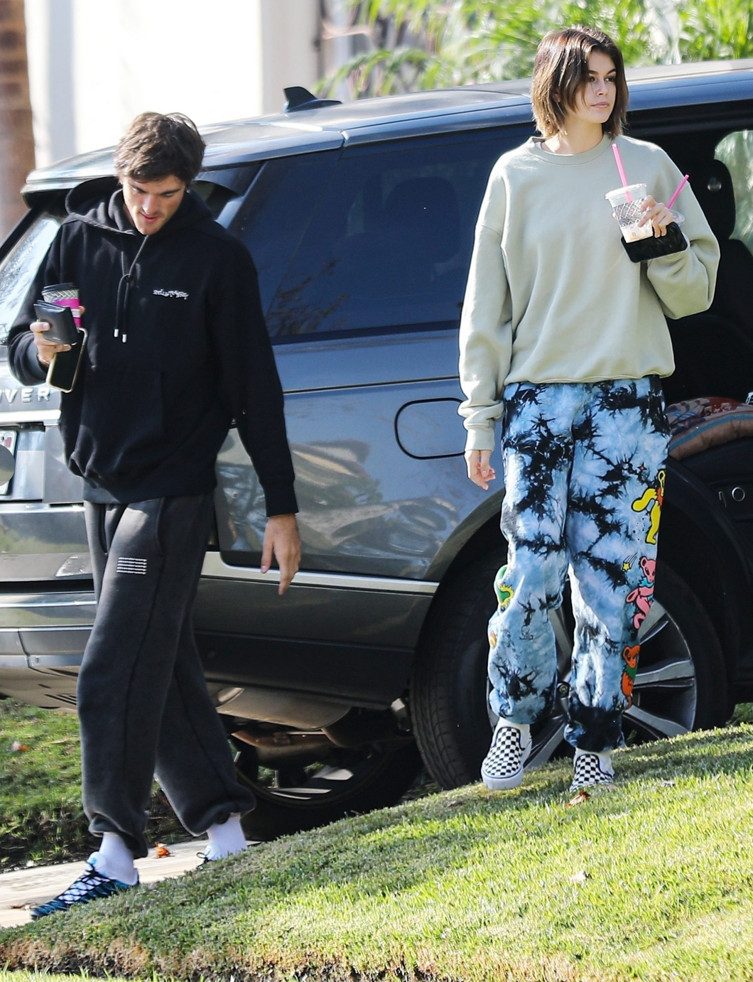 Kaia Gerber and Jacob Elordi visit Friends in West Hollywood