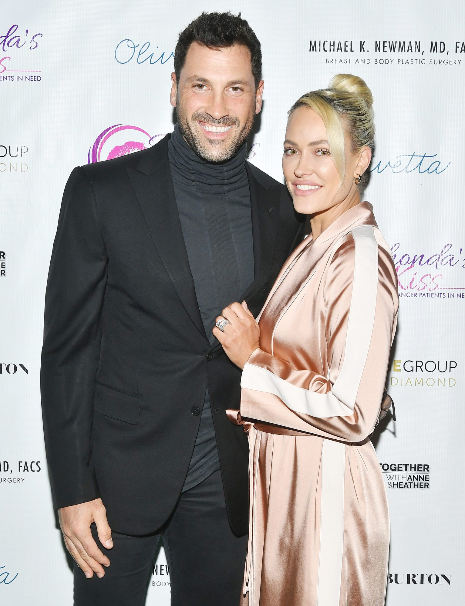 Maks Chmerkovskiy and Peta Murgatroyd attend Kiss The Stars Breast Cancer Awareness Cocktail Hour hosted by Anne Heche