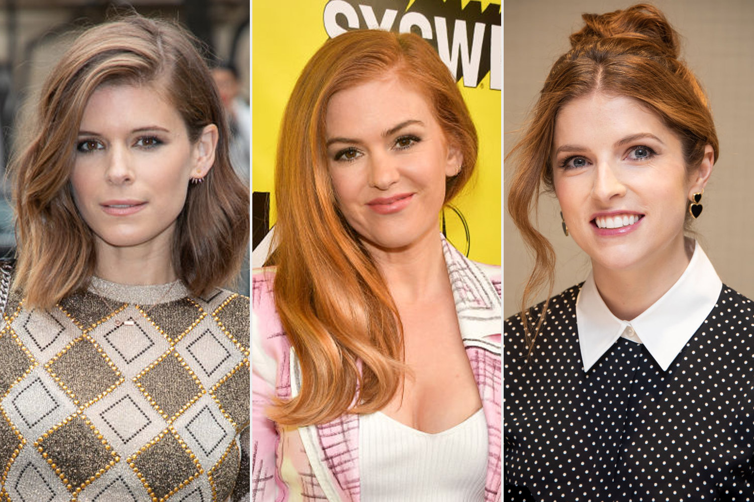 Kate Mara on the left with Isla Fisher/Anna Kendrick on the right