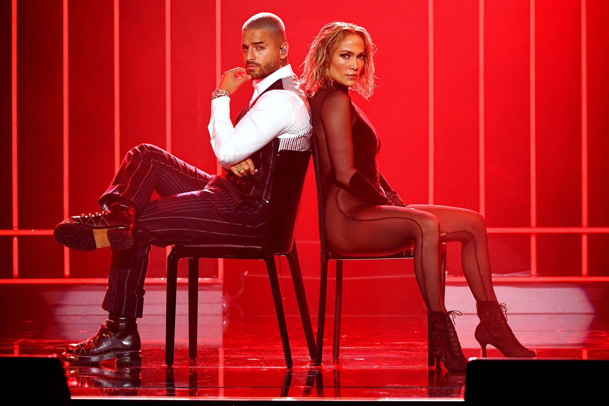 Maluma and Jennifer Lopez perform onstage for the 2020 American Music Awards at Microsoft Theater on November 22, 2020 in Los Angeles, California