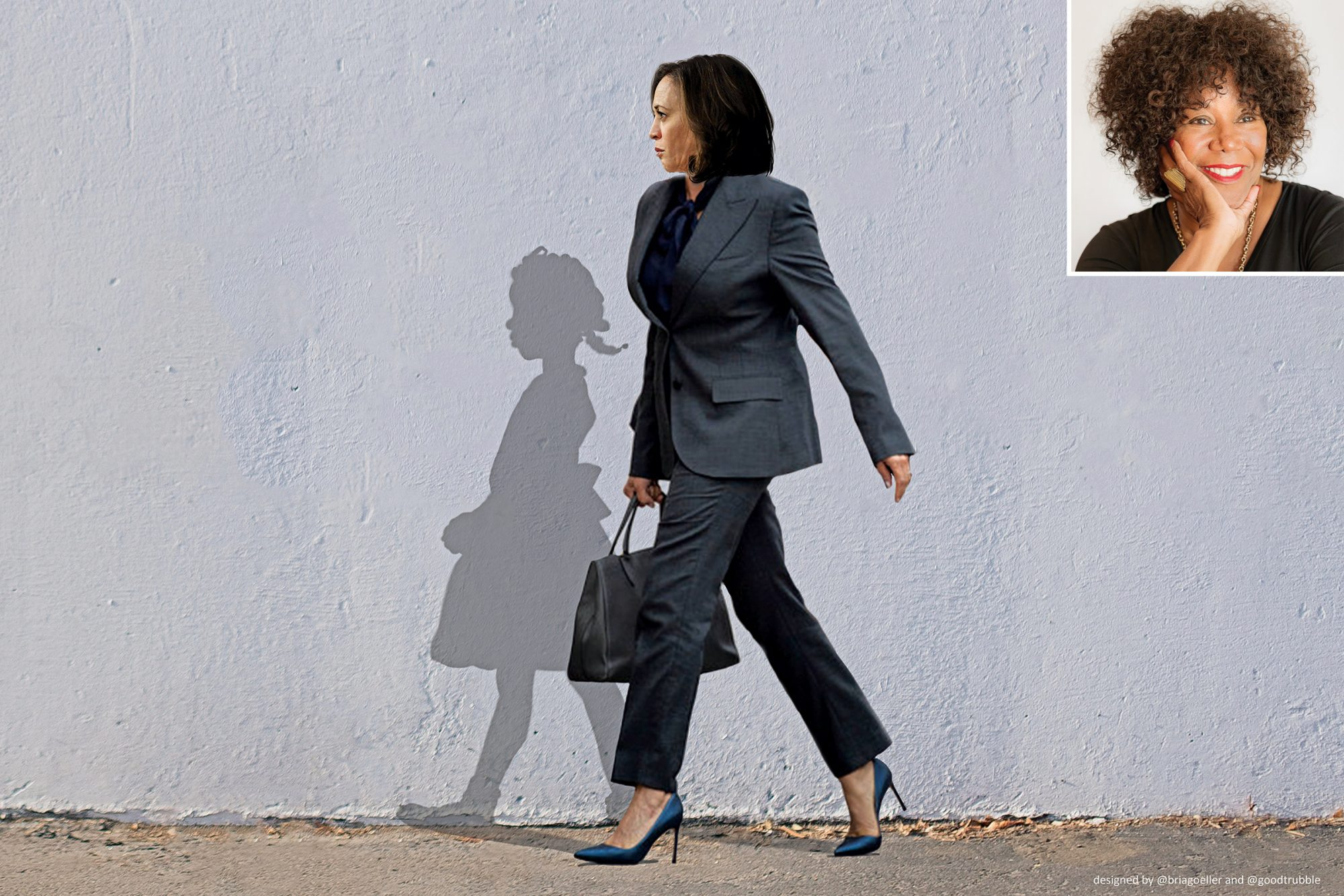 Illustration and meme created by Bria Goeller showing Kamala Harris walking in synch with the shadow of Ruby Bridges the activist