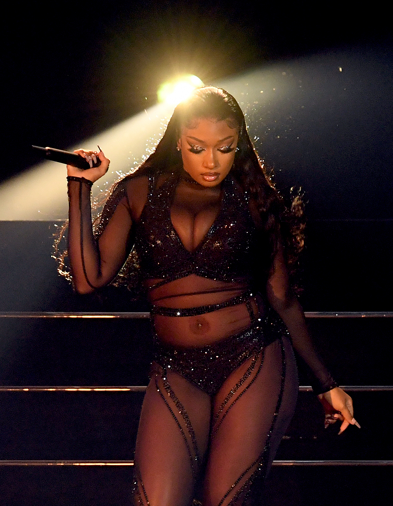 Megan Thee Stallion performs onstage for the 2020 American Music Awards