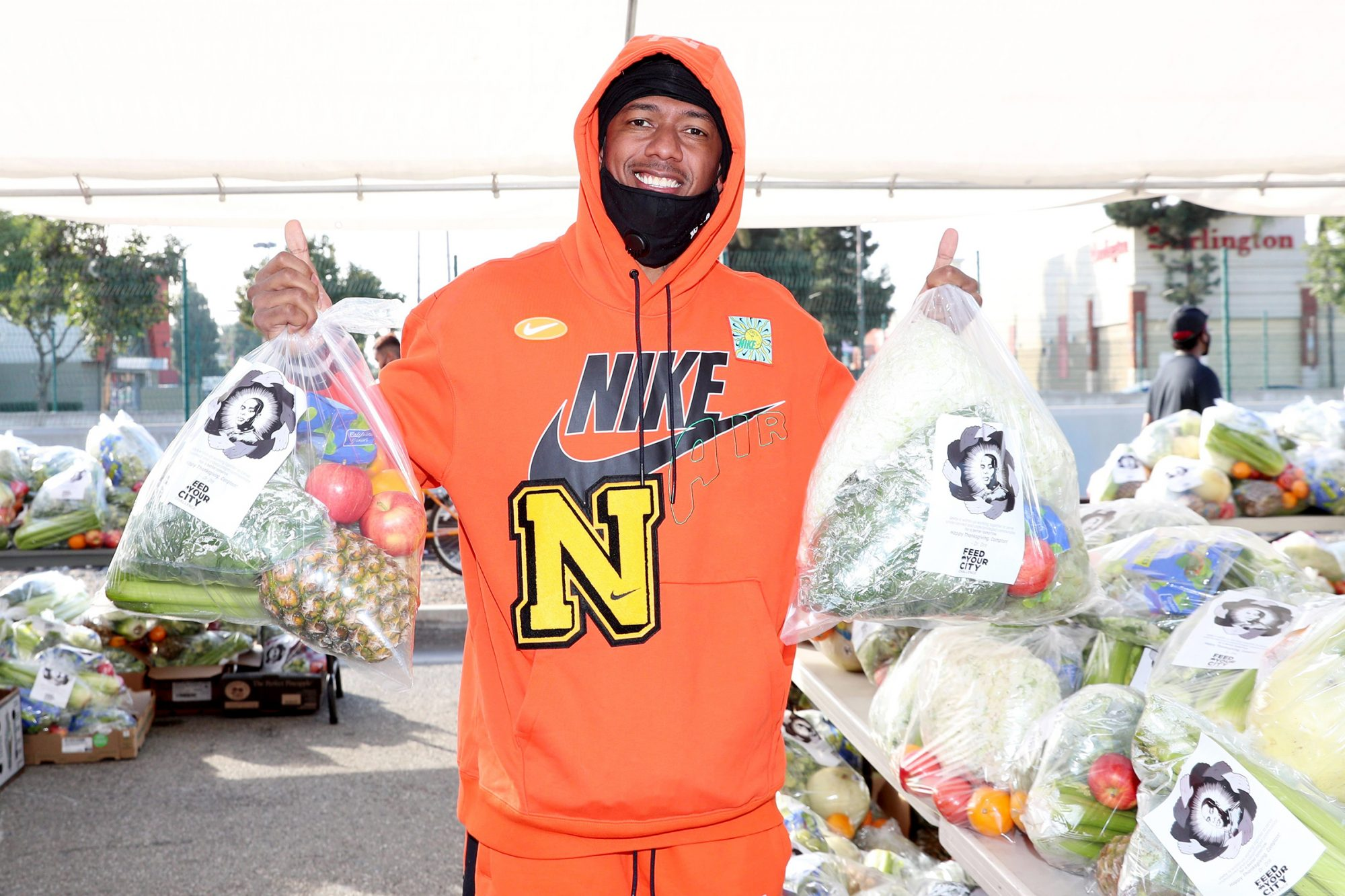Nick Cannon 'Feed Your City Challenge' food drive, Los Angeles, USA - 21 Nov 2020