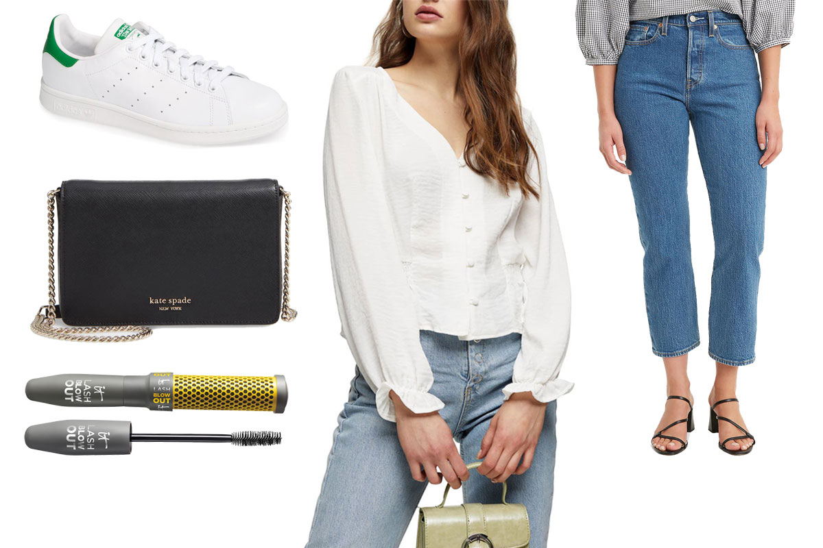 mascara, spencer bag, millie twill top, levis jeans, stan smith sneakers