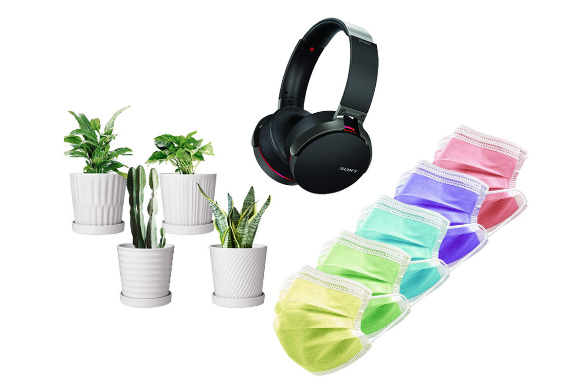 sony headphones, masks, plants