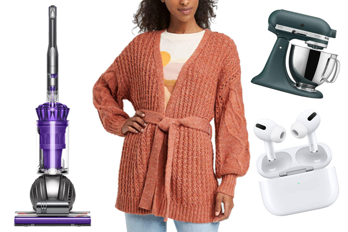 cardigan, dyson, airpods, kitchenaid