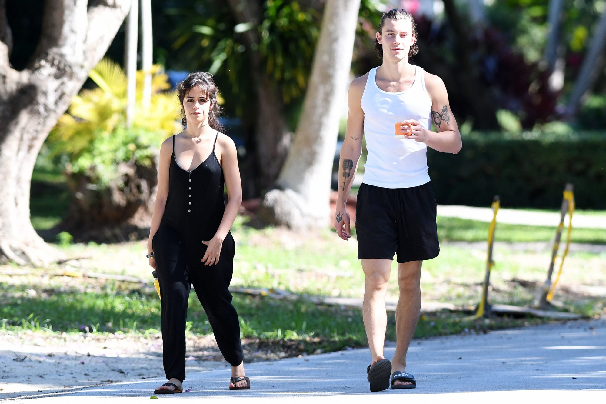 Shawn Mendes and Camila Cabello take a walk together on Sunday morning in Miami
