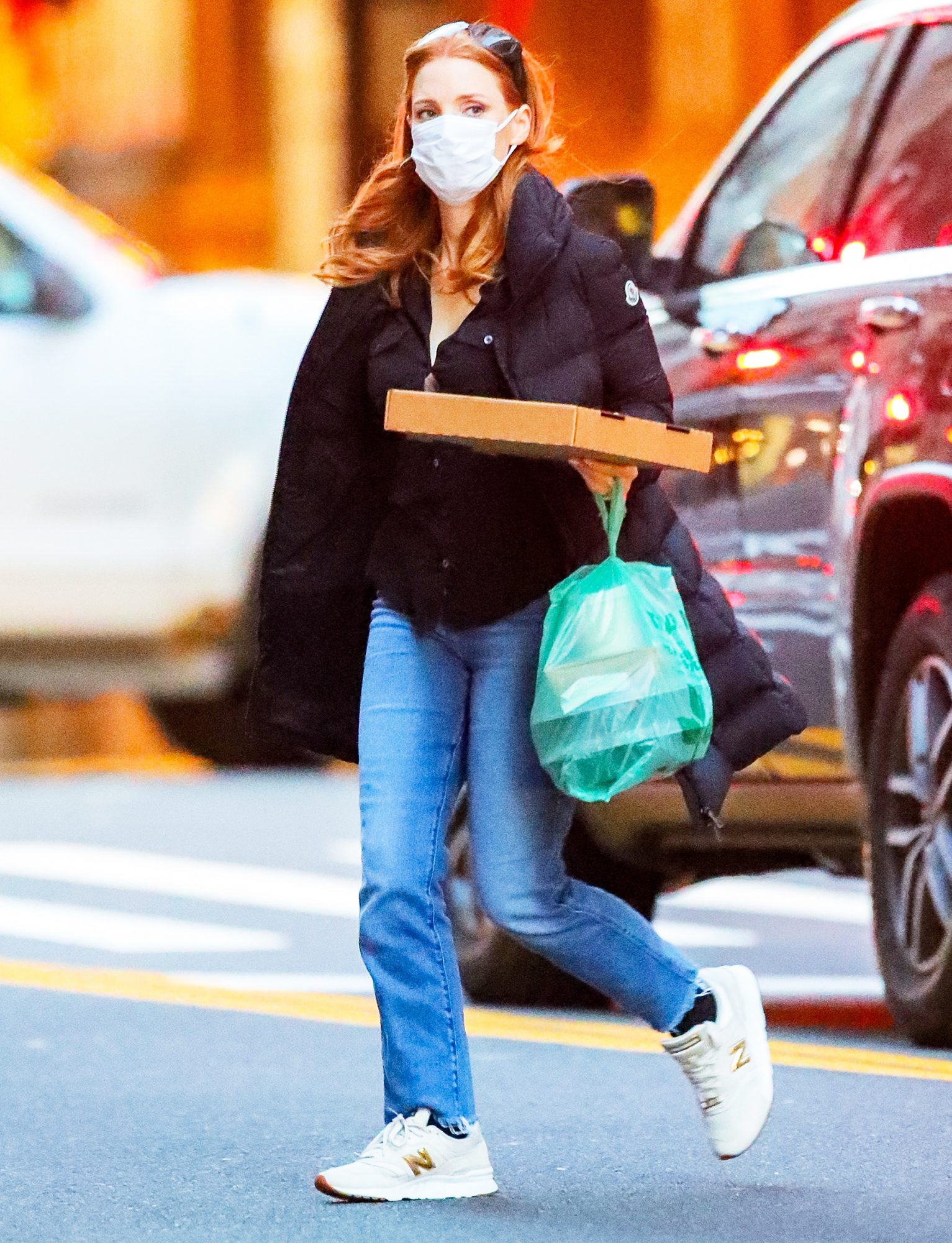 Jessica Chastain Carries A Large To-Go Order In New York City
