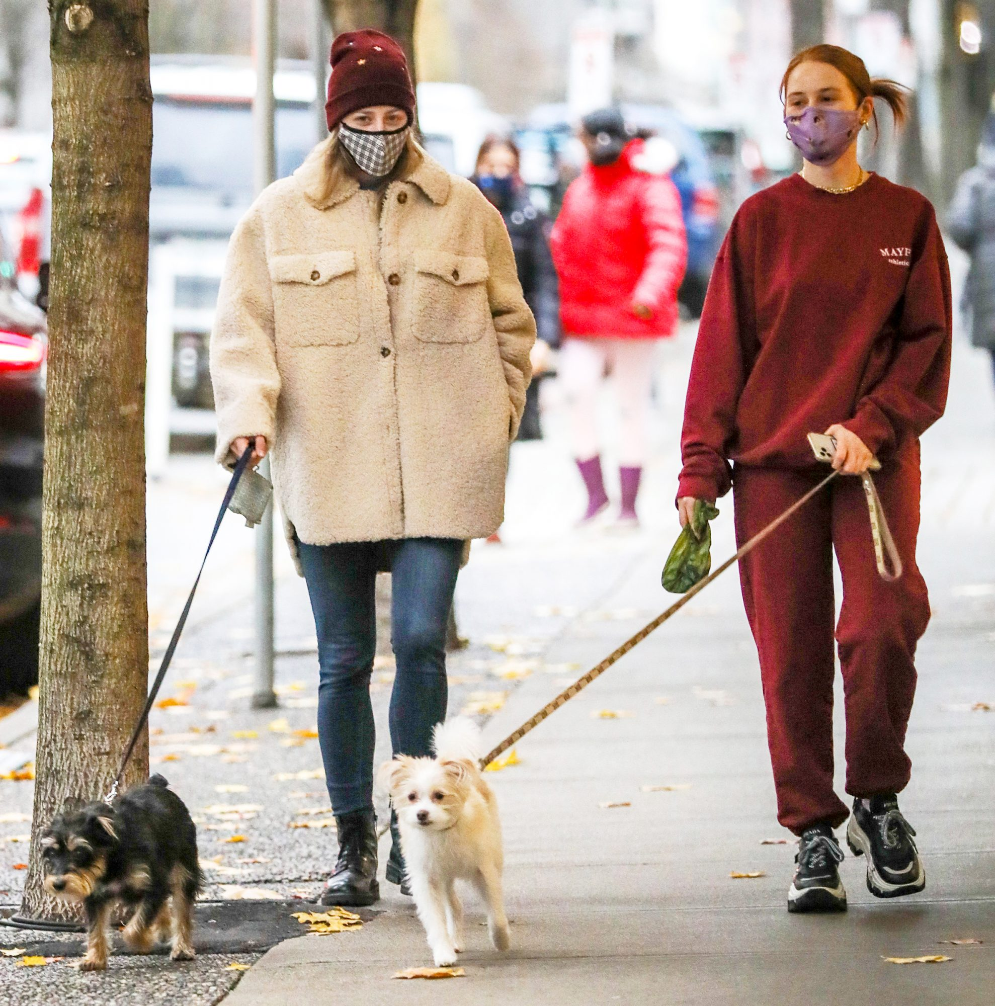 Lili Reinhart and Madelaine Petsch from 'Riverdale' Take Their Dogs for a Walk in Vancouver, Canada.