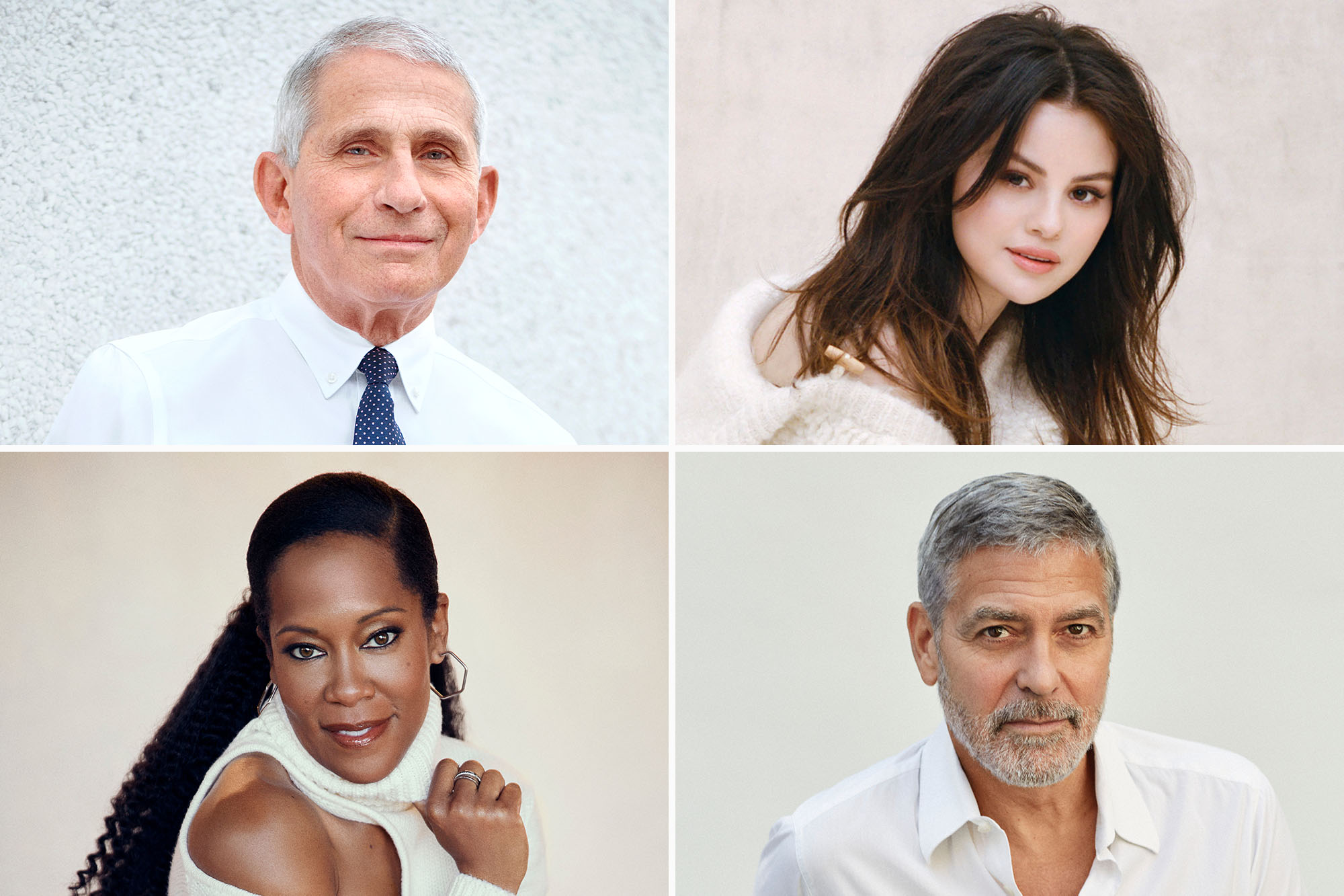 From top left, clockwise: Dr. Anthony Fauci, Selena Gomez, Regina King and George Clooney