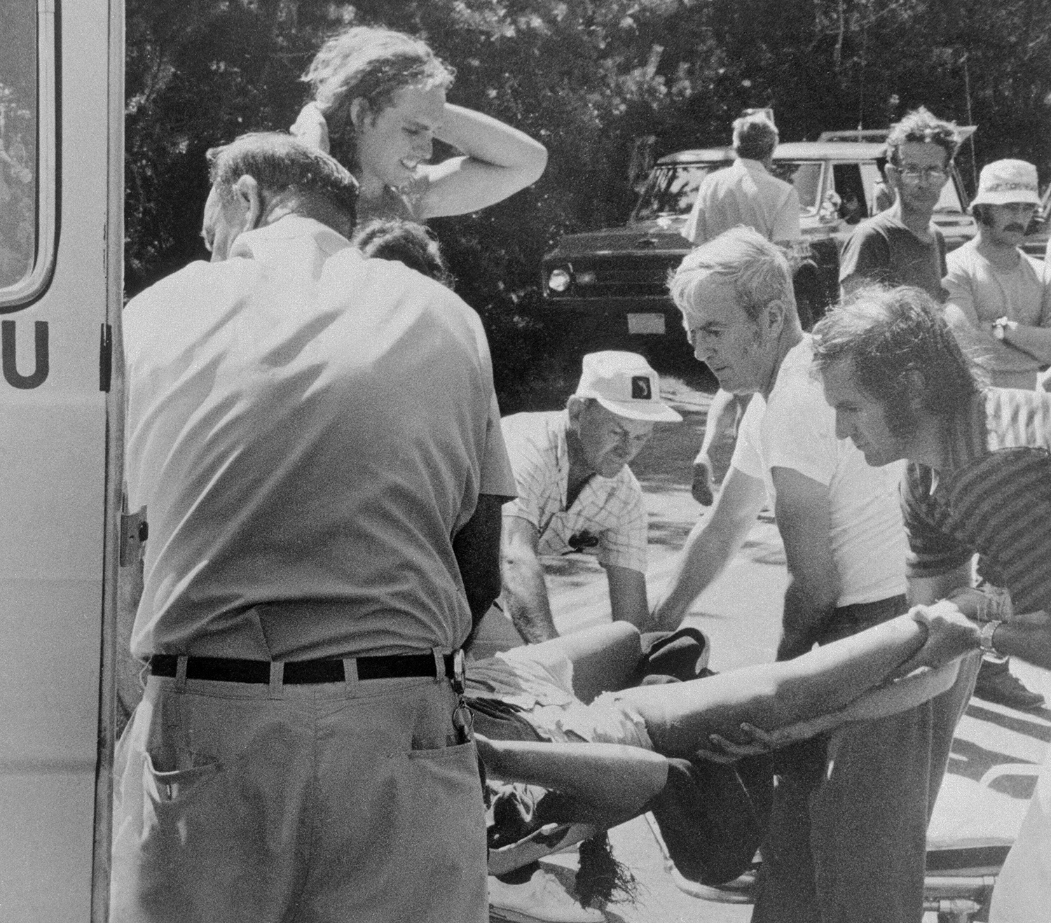 Joseph P. Kennedy III Watching His Brother Being Taken to Hospital