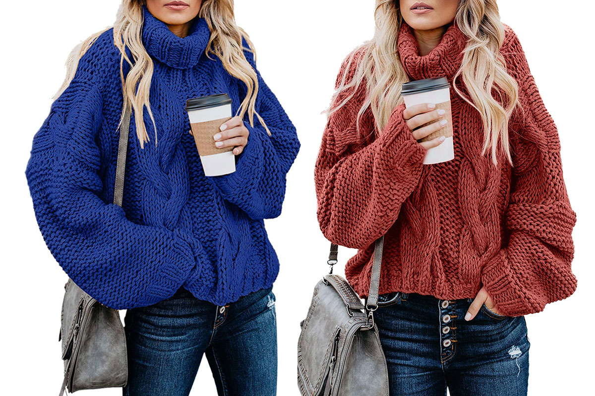 women's turtleneck, red and blue