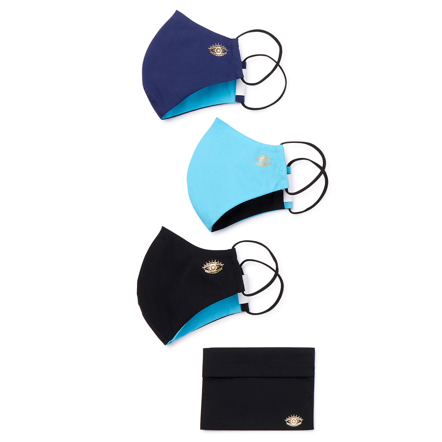Sofia Jeans by Sofia Vergara Women's Evil Eye Face Mask with Travel Pouch