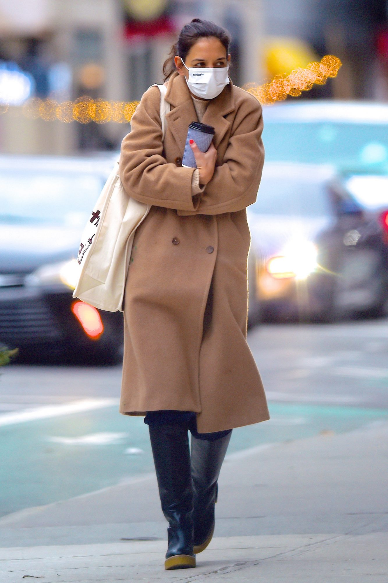 Katie Holmes is seen out and about in Manhattan on December 16, 2020 in New York City
