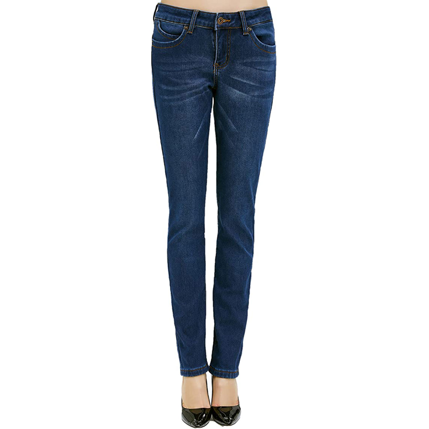 camii mia women's winter thermal mid-rise jeans
