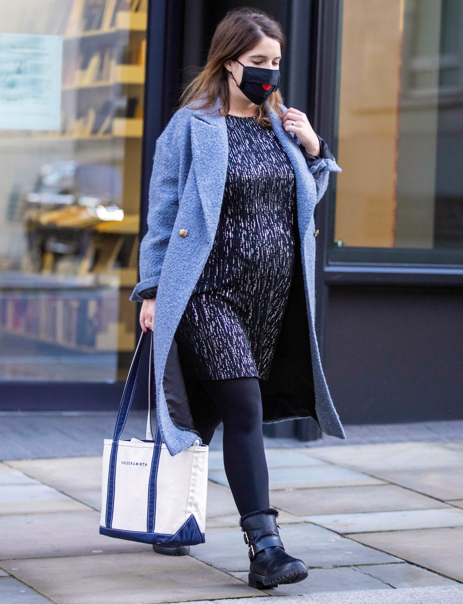 Princess Eugenie Shows Off Her Growing Baby Bump as She is Spotted Visiting an Art Gallery in London.
