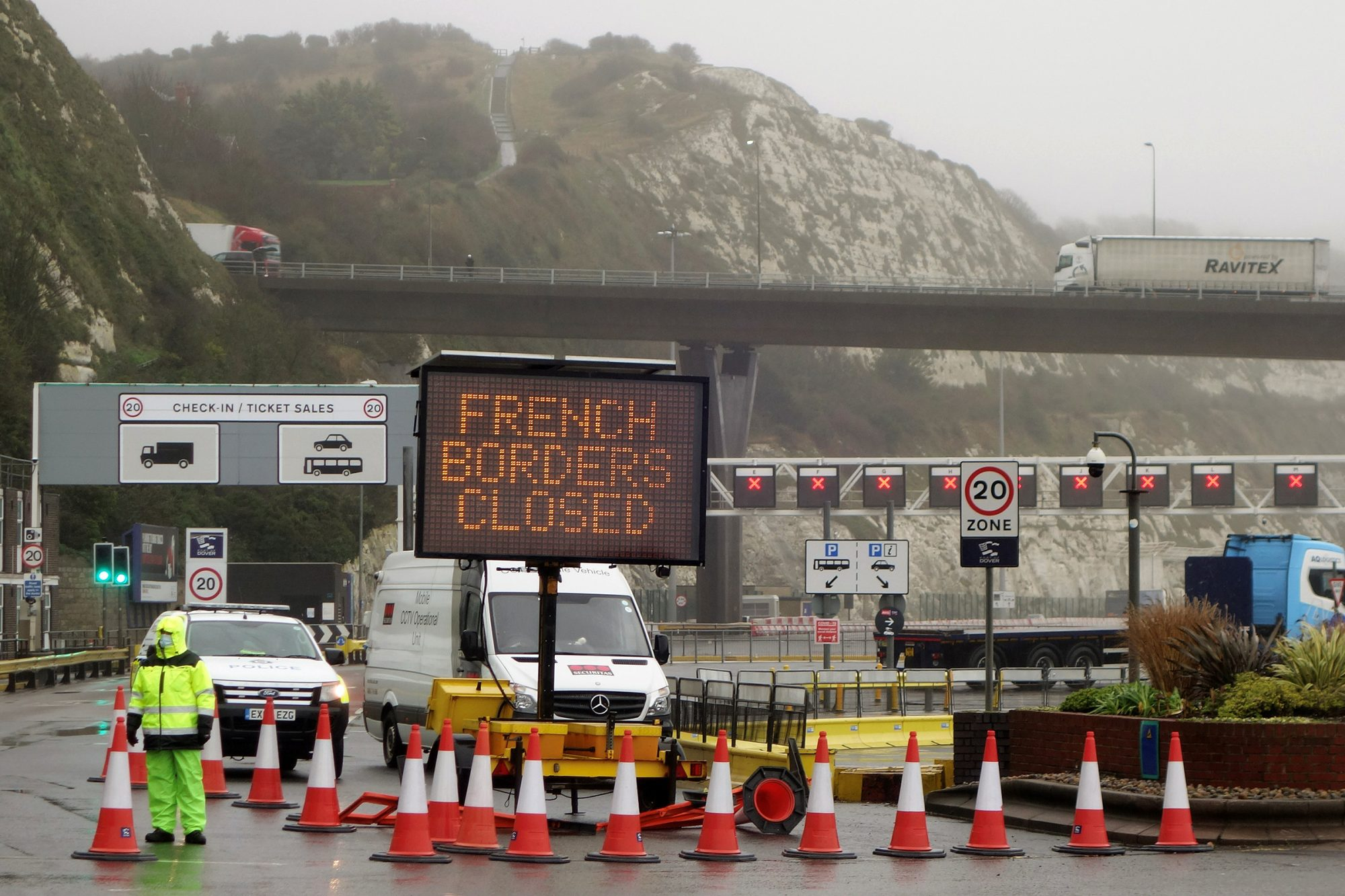 "A sign alerts customers that the ""French Borders are Closed"" at the entrance to the Port of Dover in Kent"