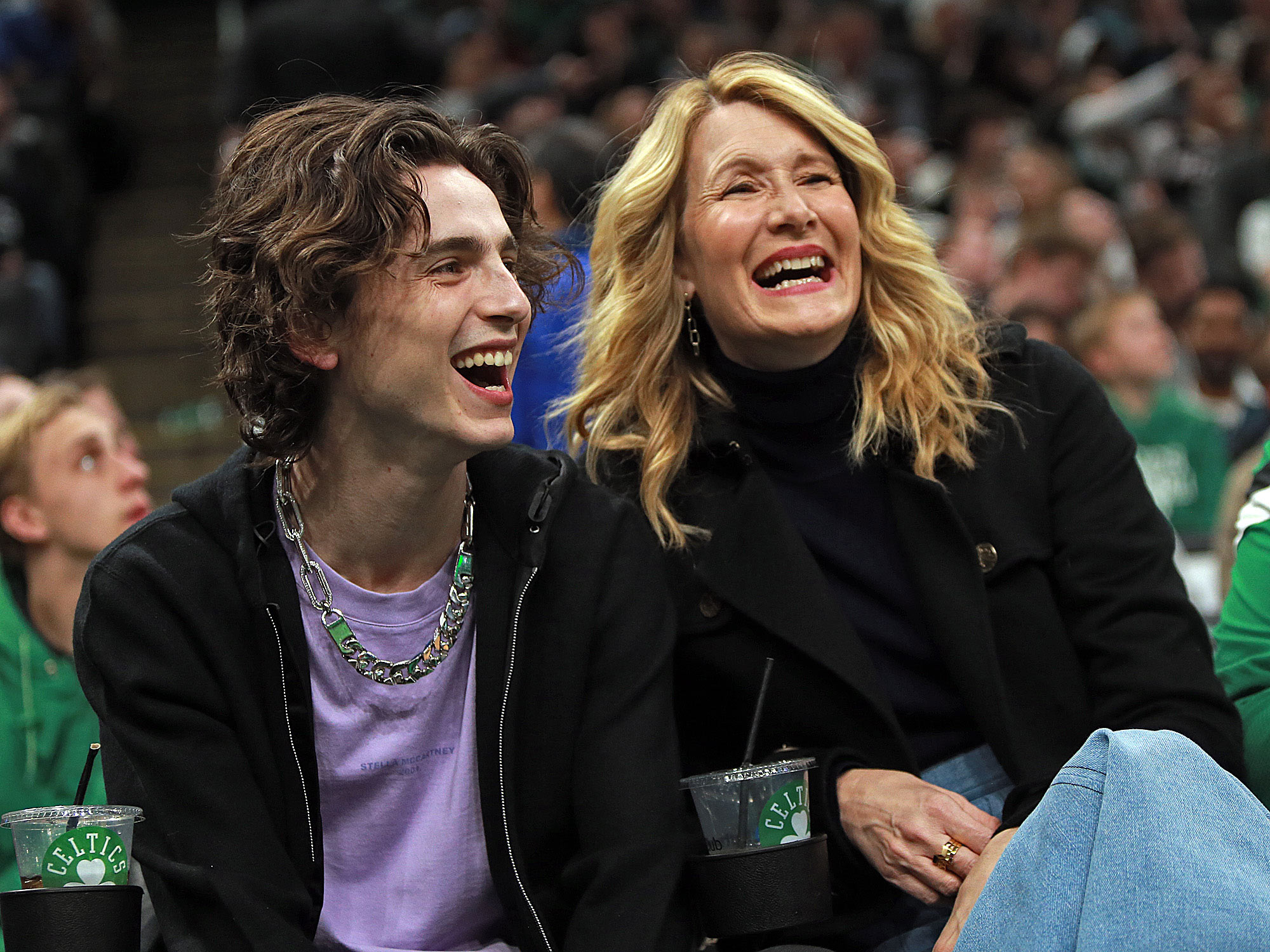 Timothee and Laura Dern
