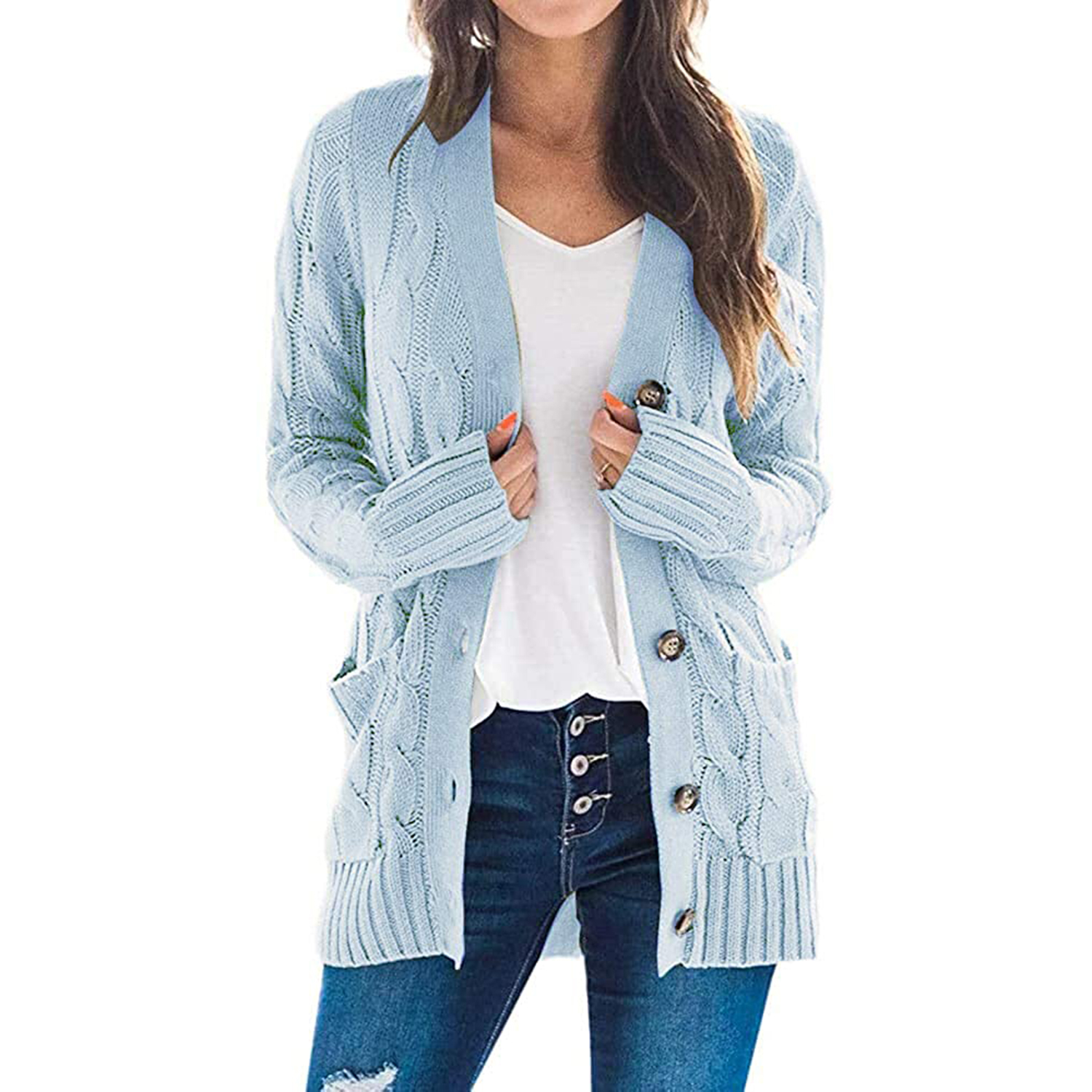 Essentials Long-Sleeve Open-Front Cardigan Cardigan-Sweaters Mujer
