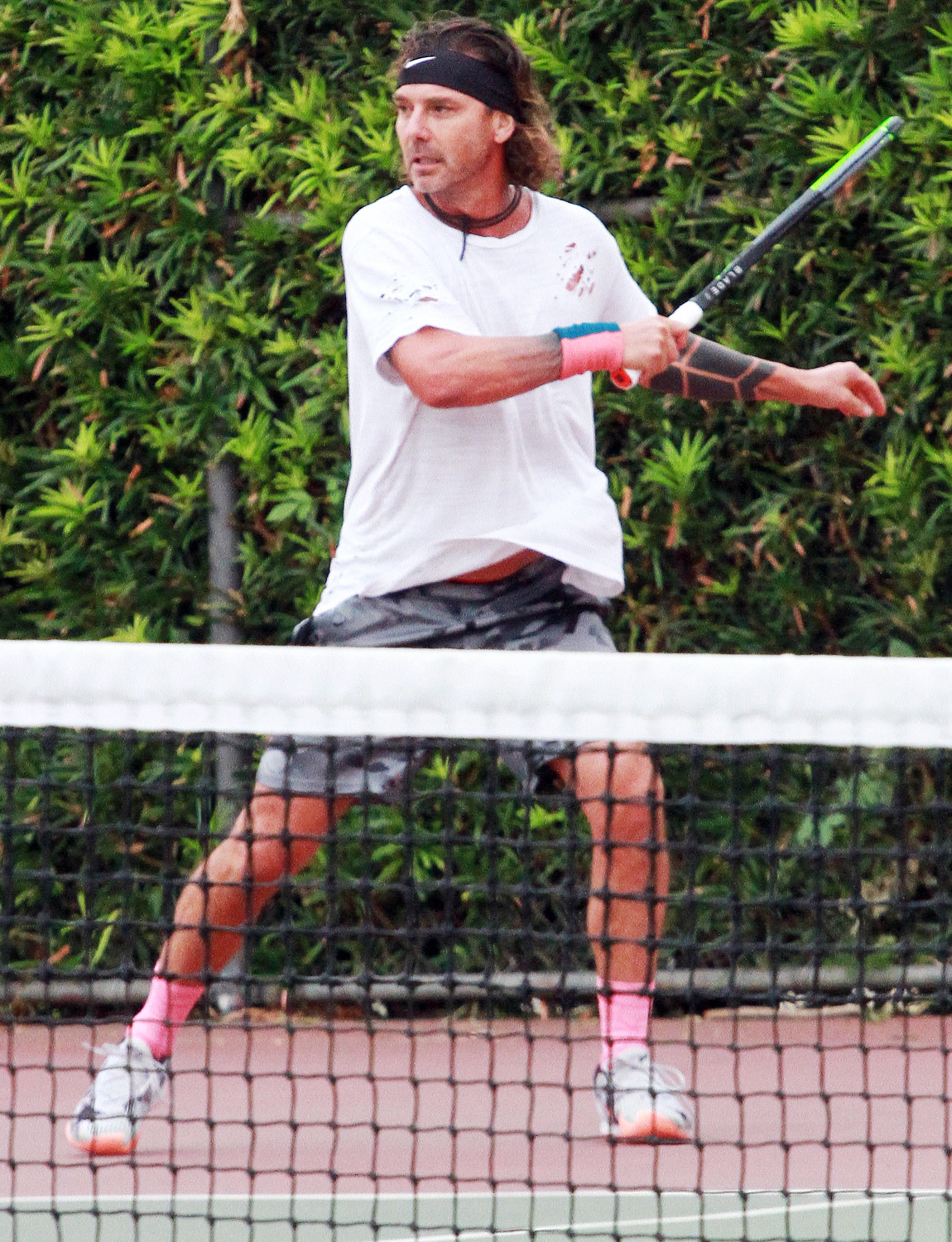 Gavin Rossdale is Pictured Playing an Intense Game of Tennis in Los Angeles.