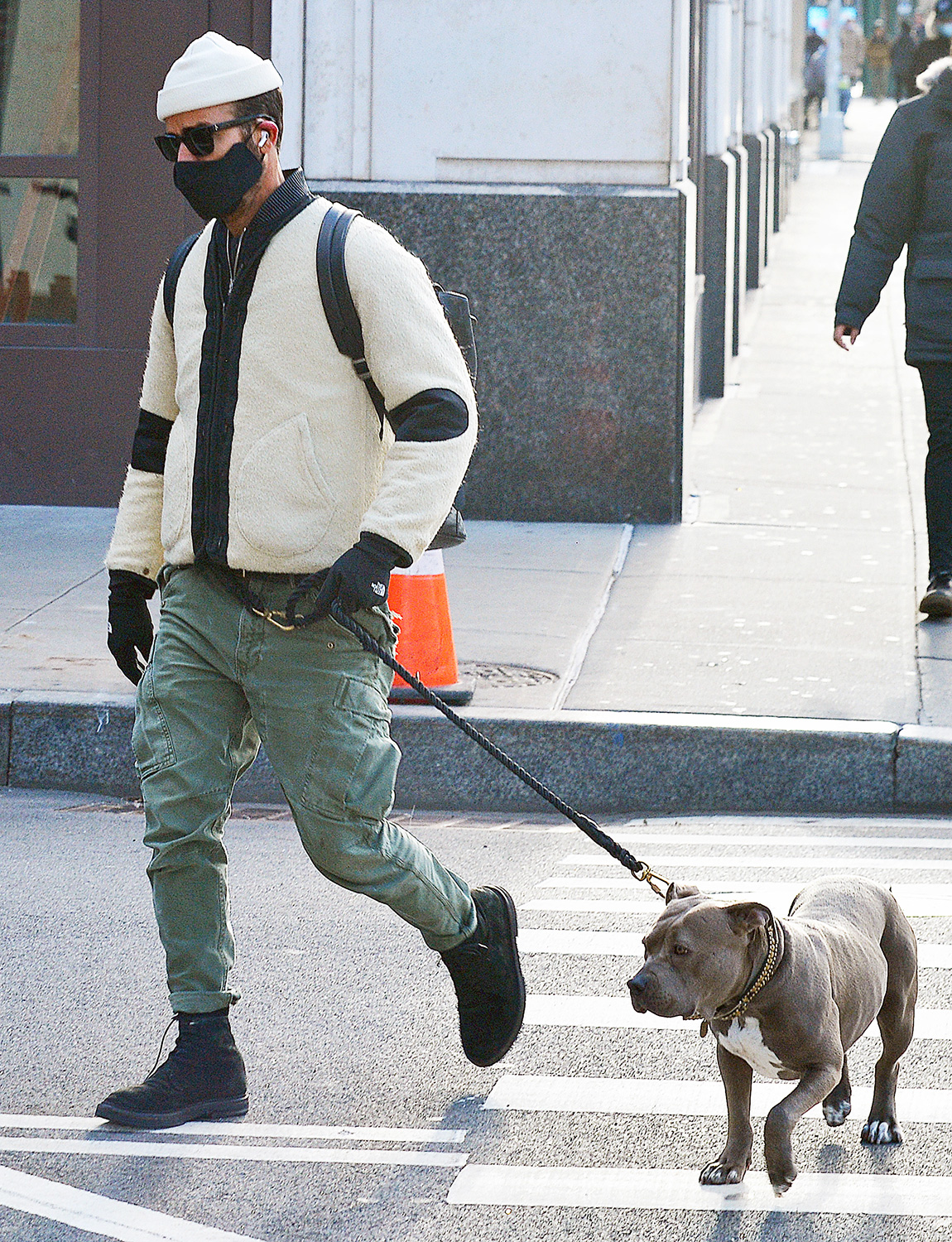 Justin Theroux is Spotted Walking His Dog Kuma in New York City.
