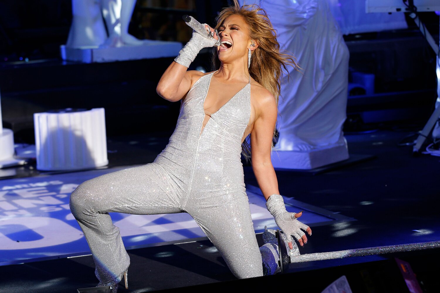 Jennifer Lopez performs in Times Square during New Year's Eve celebrations