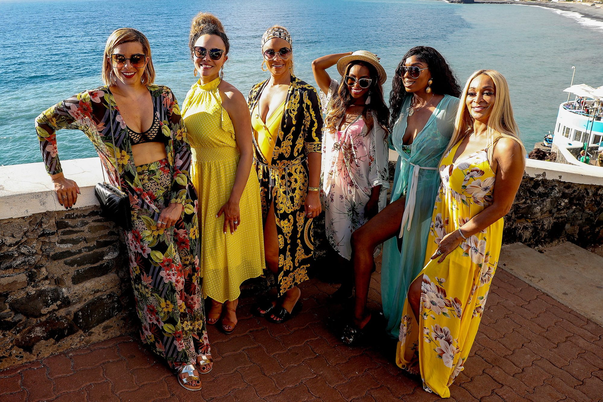 THE REAL HOUSEWIVES OF POTOMAC -- Pictured: (l-r) Robyn Dixon, Ashley Darby, Gizelle Bryant, Candiace Dillard, Wendy Osefo, Karen Huger