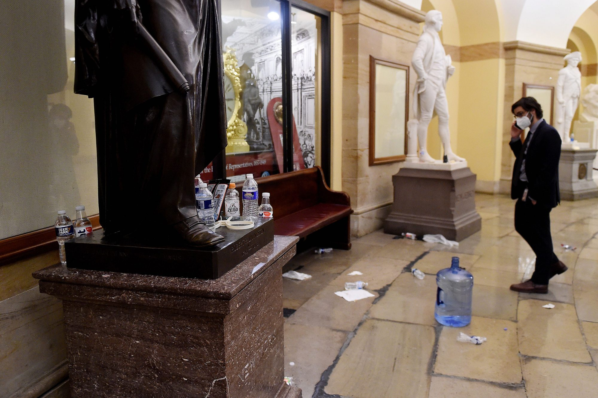 Damage is seen inside the US Capitol building early on January 7, 2021 in Washington, DC,