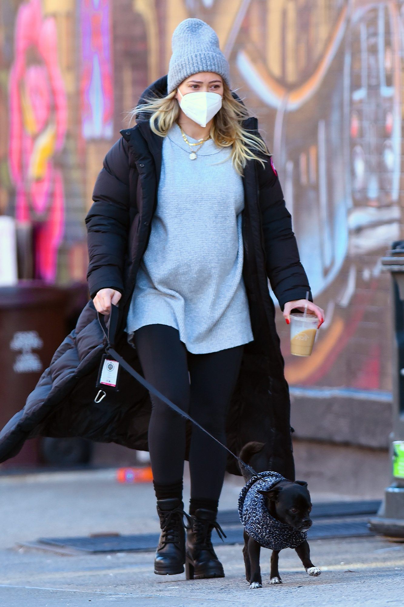 Hilary Duff is seen out walking her dog on January 6, 2021 in New York City