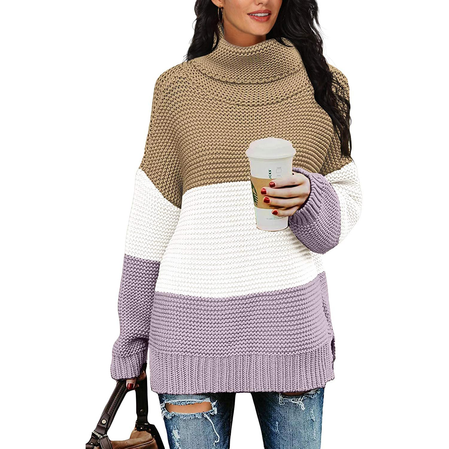 PrinStory Womens Casual Loose Long Sleeve Turtleneck Chunky Knit