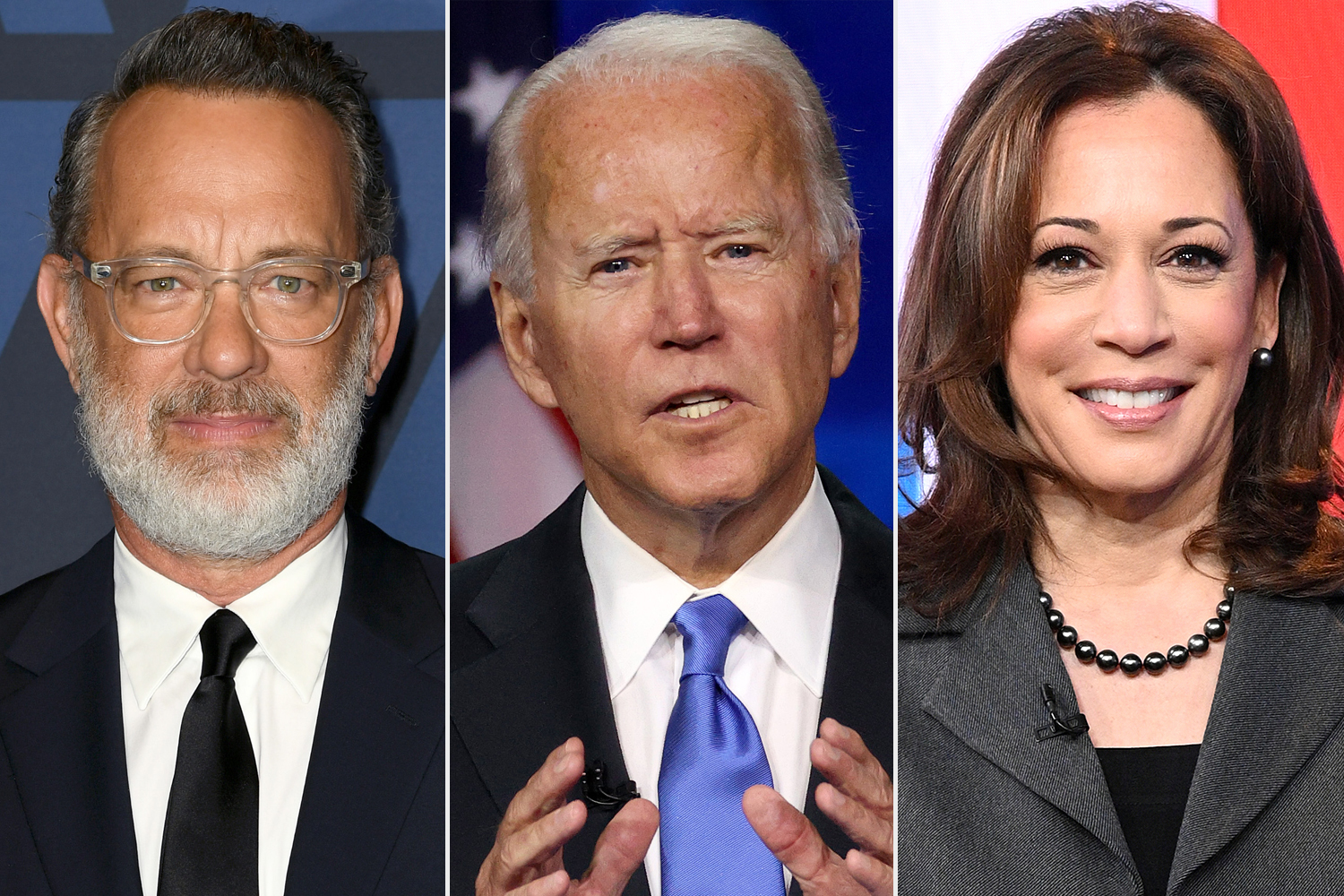 Tom Hanks, Joe Biden, Kamala Harris