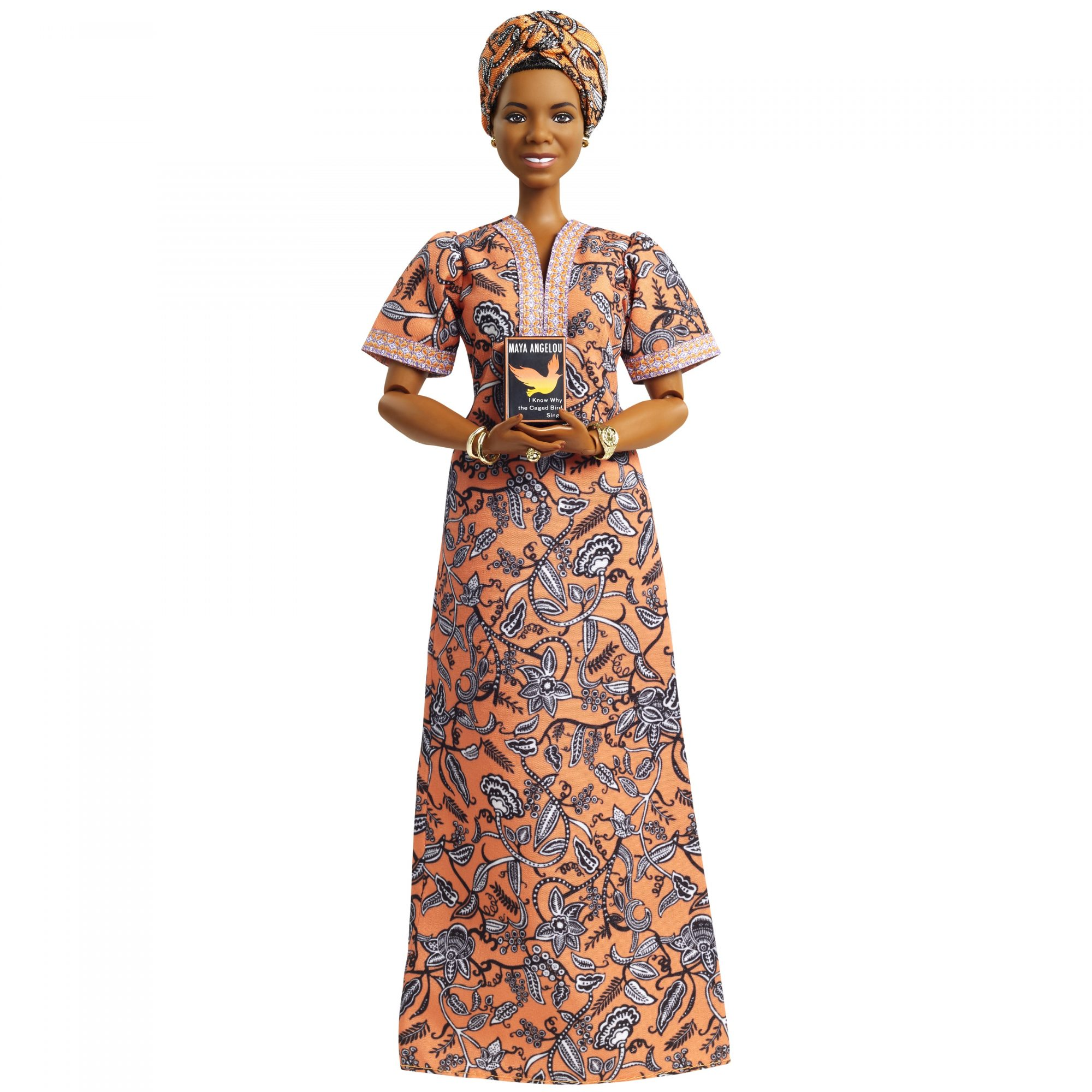 """Maya Angelou Barbie Doll Holding """"I Know Why the Caged Bird Sings"""" Book"""
