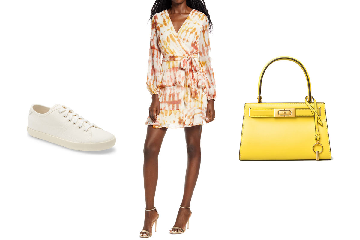 court sneaker, dress, leather bag