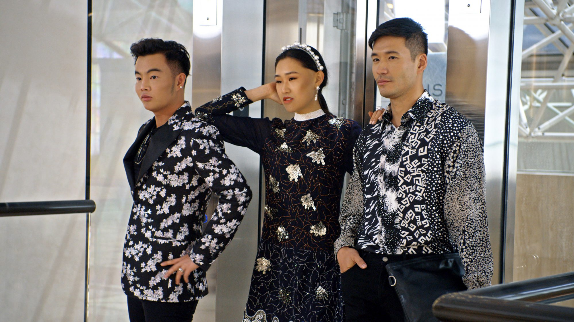 """Kane Lim, Jaime Xie and Kevin Kreider in episode 8 """"Will You Marry Me?"""" of Bling Empire: Season 1"""