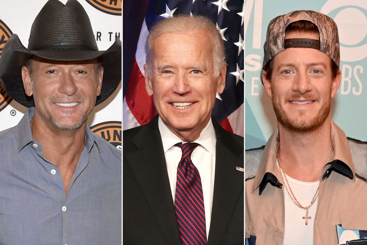 From left: Tim McGraw, Joe Biden and Tyler Hubbard
