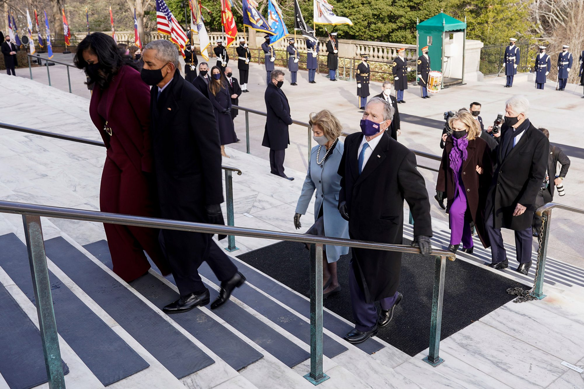 US former President Bill Clinton with wife, former Secretary of State, Hillary Clinton, Former US President George W. Bush with his wife Laura Bush, Former US president Barack Obama and his wife Michelle Obama attend a wreath laying ceremony at the Tomb of the Unknown Soldier at the Arlington National Cemetery, in Arlington, Virginia, USA, 20 January 2021. Joe Biden was sworn in earlier on the same day and became the 46th President of the United States. US President Joe Biden visits Arlington National Cemetery, USA - 07 Jan 2021