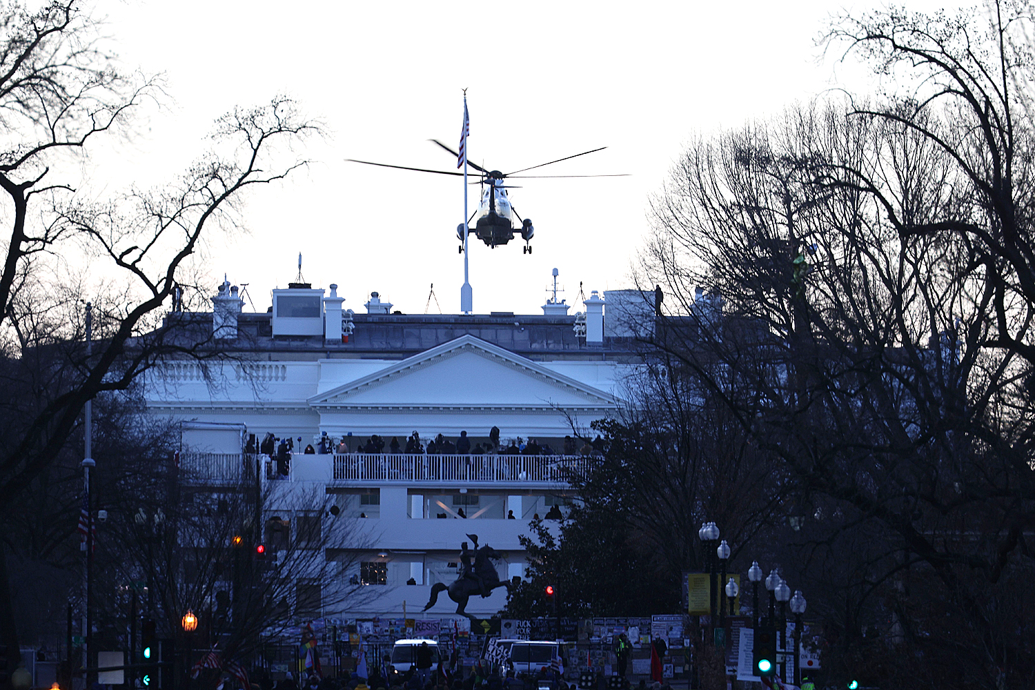 Marine One leaves the White House with US President Donald J. Trump and US First Lady Melania Trump on board