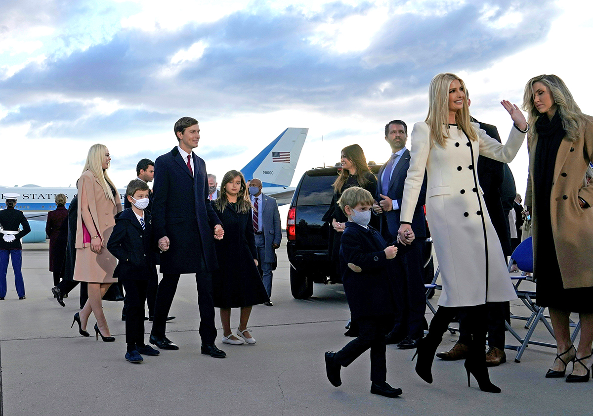 Ivanka Trump, husband Jared Kushner, thier children and Trump family members waves at Joint Base Andrews in Maryland as they arrive for US President Donald Trump's departure on January 20, 2021