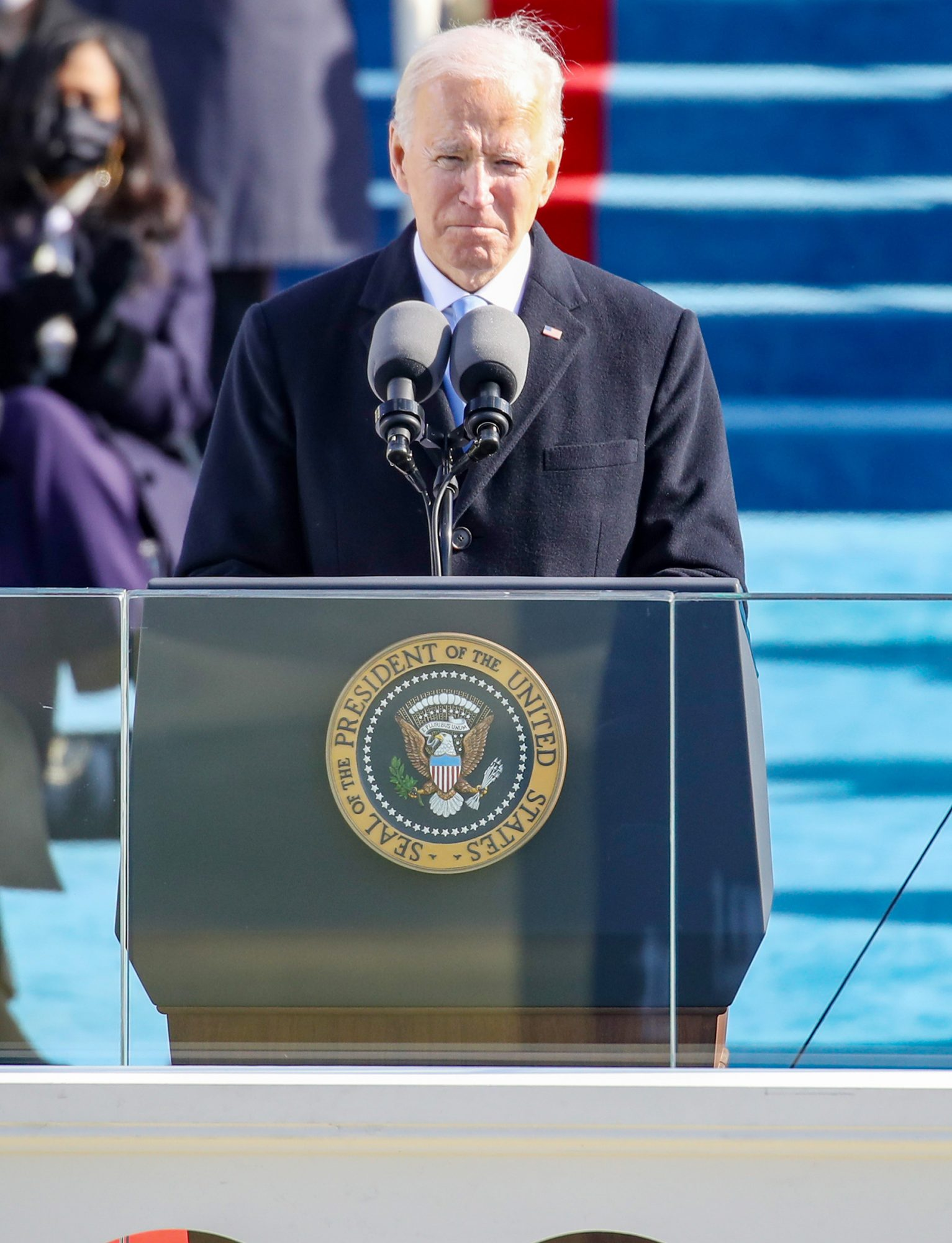 U.S. President Joe Biden reacts as he delivers his inaugural address on the West Front of the U.S. Capitol on January 20, 2021