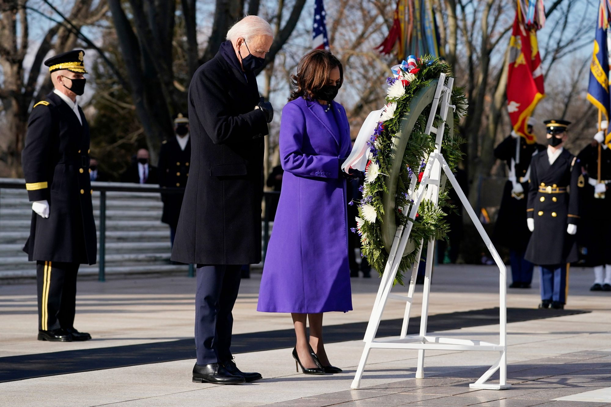 President Joe Biden and Vice President Kamala Harris participate in a wreath laying ceremony at the Tomb of the Unknown Soldier at Arlington National Cemetery in Arlington, Va Biden Inauguration, Arlington, United States - 20 Jan 2021
