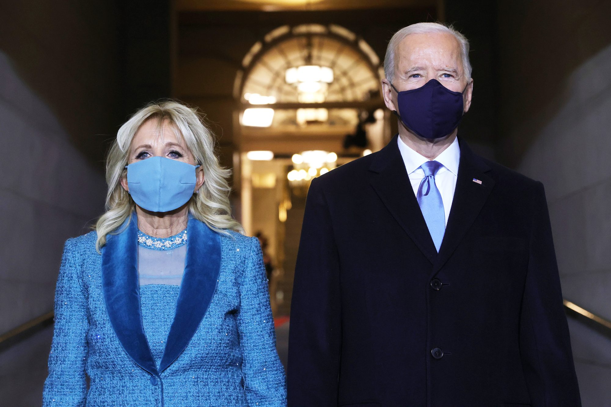 U.S. President-elect Joe Biden and Dr. Jill Biden arrive to Biden's inauguration on the West Front of the U.S. Capitol on January 20, 2021 in Washington, DC
